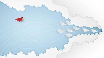 conception de réussite commerciale avec des avions en papier vecteur