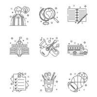 retour aux icônes linéaires de l & # 39; école vecteur