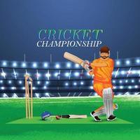 concept de match de cricket avec stade et arrière-plan vecteur