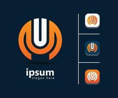 création de logo lettre um pour entreprise vecteur