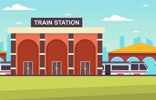 illustration plate de la gare de métro de banlieue transport public ferroviaire