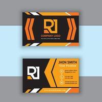 modèle de carte de visite moderne orange et noir vecteur
