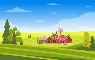 agriculture champ ferme prairie rurale nature scène paysage illustration vecteur