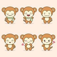 mascotte de singe mignon avec divers types de collection de jeu d'expressions vecteur