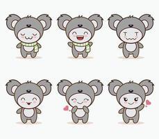 mascotte mignonne de koala avec divers types de collection de jeu d'expressions vecteur