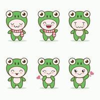 mascotte de grenouille mignonne avec divers types de collection de jeu d'expressions vecteur