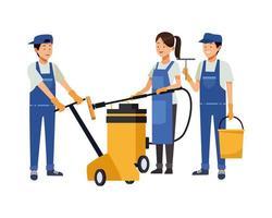 équipe de ménage avec équipement de nettoyage vecteur