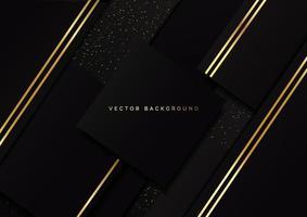 Couche de chevauchement géométrique carré de luxe abstrait sur fond noir avec des paillettes et des lignes dorées avec espace de copie pour le texte. vecteur
