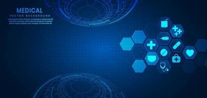 fond abstrait hexagone bleu concept médical et scientifique et modèle d'icône de soins de santé. vecteur
