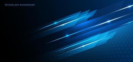 technologie abstraite couleur bleue géométrique avec lumière bleue sur fond noir. vecteur