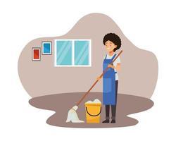 Femme de ménage avec vadrouille et seau vecteur