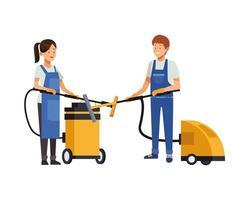 travailleurs ménagers avec aspirateurs vecteur