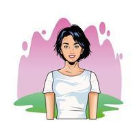 style pop art jolie jeune femme vecteur