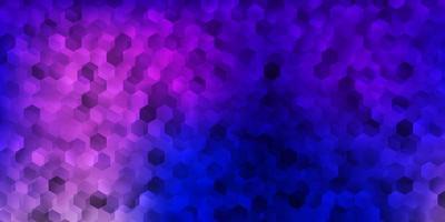 couverture de vecteur rose foncé, bleu avec des hexagones simples.