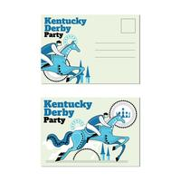 Carte postale de fouet avec un événement Jokey et cheval Vintage sur Kentucky Derby vecteur