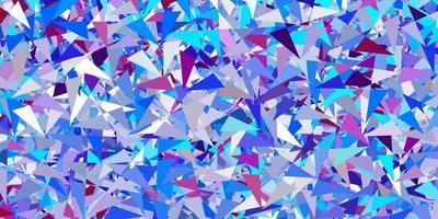 toile de fond de vecteur rose clair, bleu avec des triangles, des lignes.