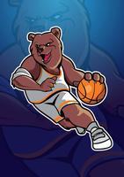 Mascotte de basket-ball d'ours vecteur