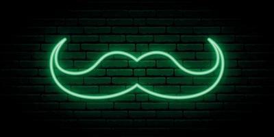 enseigne au néon moustache verte. vecteur