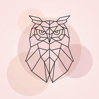 tête géométrique d'un hibou. illustration vectorielle abstraite d'un oiseau sauvage. vecteur