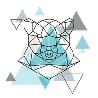 tête géométrique abstraite d'un ours polaire.