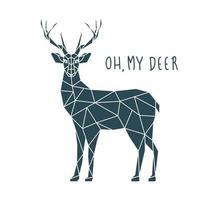 oh mon cerf, illustration vectorielle. vue de côté de cerf scandinave. vecteur