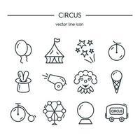 jeu de ligne d'icônes de cirque. illustration vectorielle. vecteur