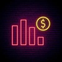 enseigne au néon de crise économique. graphique abstrait avec signe dollar dans un style néon. enseigne de nuit lumineuse. vecteur