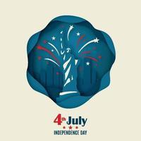bannière de voeux avec statue de la liberté et feux d'artifice dans un style origami. 4 juillet. jour de l'indépendance américaine. vecteur