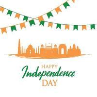 carte de voeux avec des monuments indiens. fête de l'indépendance de l'inde, 15 août. paysage indien. vecteur