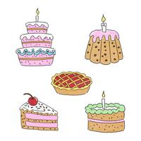 Collection de desserts de gâteau mignon vecteur
