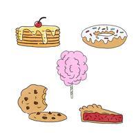 Collection de desserts sucrés mignons vecteur