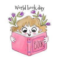 Mignonne petite fille Blondie souriant et lisant le livre rose vecteur