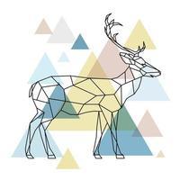silhouette d'un cerf géométrique debout sur le côté. style scandinave.