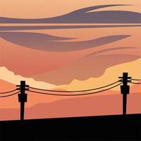 Silhouette de poteaux lumineux devant un fond de ciel orange vecteur