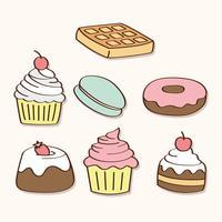 Bonbons et bonbons dessinés à la main vecteur