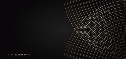 lignes de courbes de luxe abstraites qui se chevauchent sur fond noir avec espace de copie pour le texte. vecteur