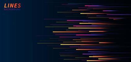 lignes de vitesse horizontales colorées abstraites sur fond bleu foncé. style de technologie. vecteur