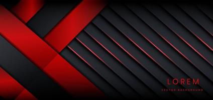 Abstrait de lignes de rayures de couleur sombre et rouge fond superposées couches décor fond effet de lumière rouge concept technologique. vecteur