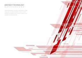technologie abstraite géométrique rouge et gris sur fond blanc. vecteur