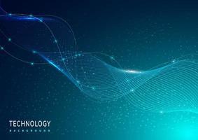 technologie abstraite éclairage numérique lignes de lumière bleue brillante futuriste vague avec fond de particules bleu clair. vecteur