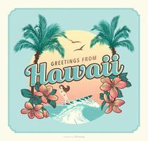 Salutations de vecteur de carte postale rétro Hawaï