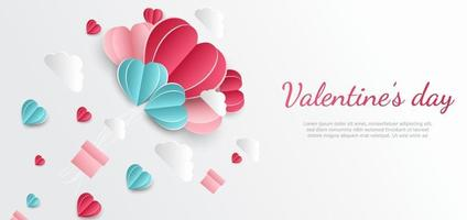 fond de la Saint-Valentin. coeur rose et bleu papier découpé carte sur fond blanc décor nuages espace pour le texte. vecteur