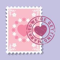 Invitation de mariage de timbre vecteur