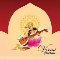 conception de carte de voeux joyeux vasant panchami avec illustration créative de la déesse saraswati
