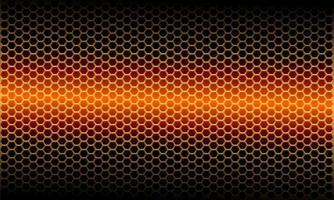 motif de maille hexagonale métallique légère orange abstraite sur illustration vectorielle de design noir moderne fond futuriste. vecteur