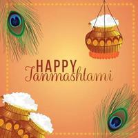 carte de voeux joyeuse célébration janamashtami