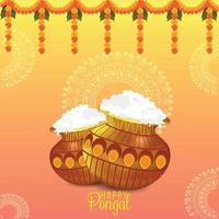 carte de voeux joyeux pongal célébration vecteur