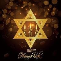 célébration de joyeux hanoucca avec bougie dorée et étoile vecteur