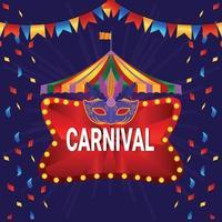 carnaval vintage de cirque avec grande roue et chapiteau de cirque vecteur