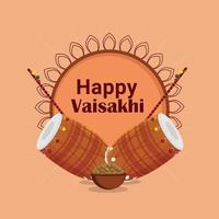 design plat heureux baisakhi et fond créatif avec tambour vecteur